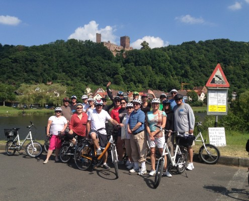 Happy bikers on their tour